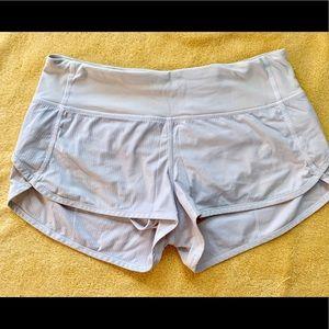 White dry fit athletic shorts -Lululemon